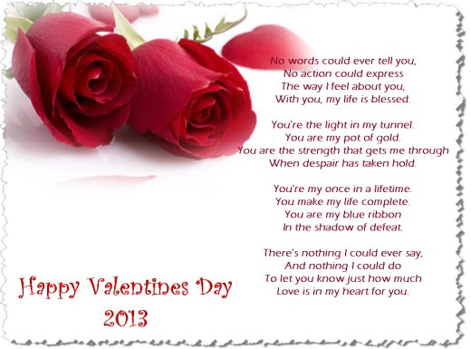 Happy Valentine day 2013 Romantic poem picture