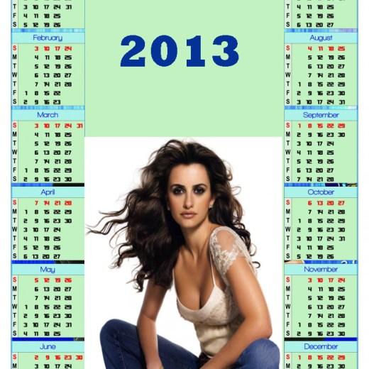 calendar 2013 Hollywood Actress Hot Girl Wallpaper