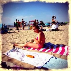 De terrorist wel op een strandlaken.