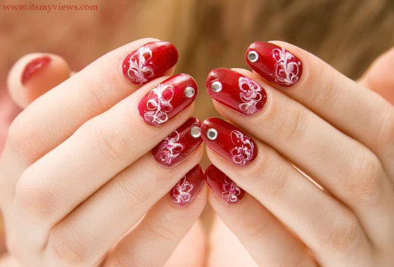 Beautiful Easy Red White Color Nail Art Design