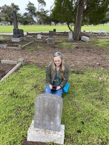 At Sophronia's grave site