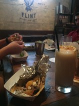 Shandy and a chicken taco