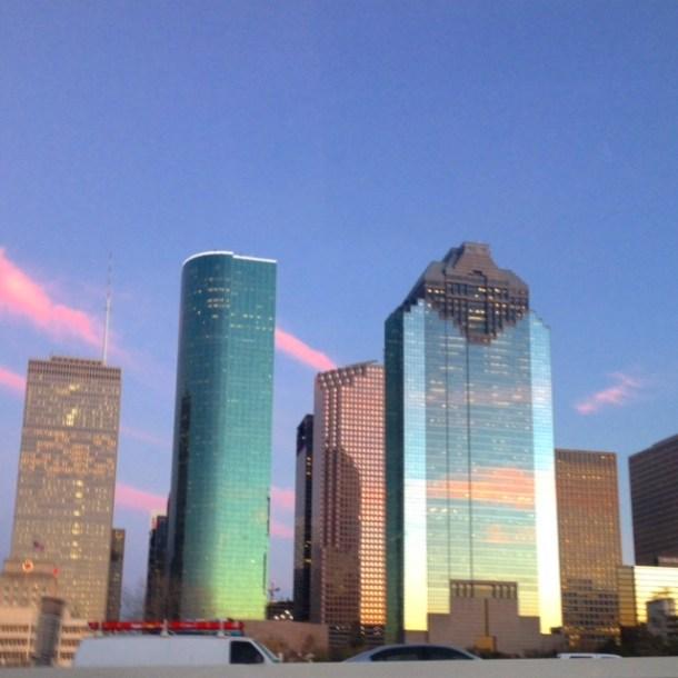downtown skyline on I45