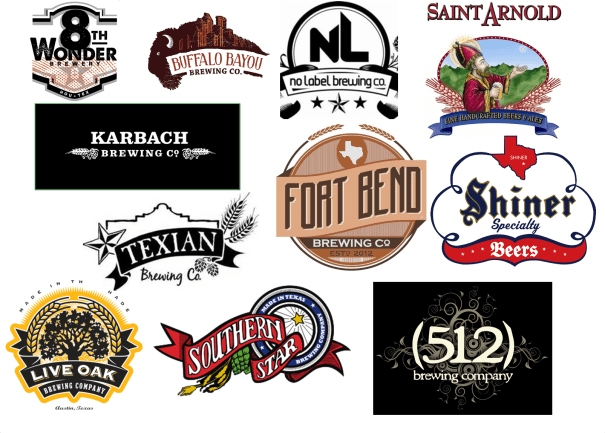 Texas label beers, St. Arnolds, Karbach, Fort Bend Brewery, 512, Jester King Brewery, Love Oak Brewing Company, No Label Brewing Company, Southern Star Brewing Company, Spoetzl Brewery, Shiner, Texian Brewing Company