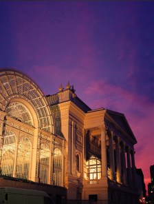 ROYAL OPERA HOUSE REDEVELOPMENT (1999)Pictured: Night view of the Bow Street elevation showing the rebuilt Vilar Floral Hall and the restored 1858 Royal Opera House building