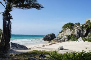 Ruins to your right, beach to your left in Tulum.