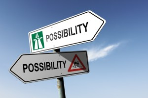 Possibility directions. Choice for easy way or hard way.