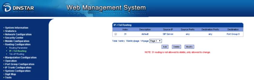 ip-tel routing dinstar