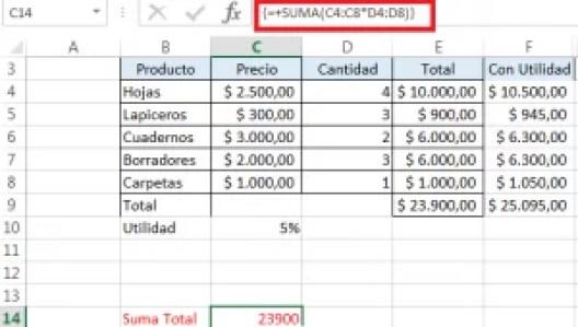 Operación matricial Excel
