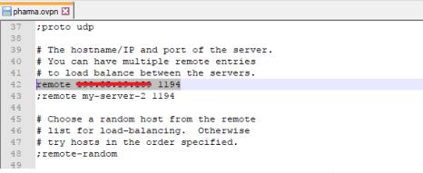 Dirección IP pública remota Servidor OpenVPN