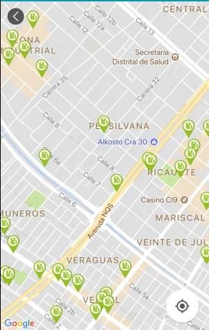 Puntos de recarga en mapa