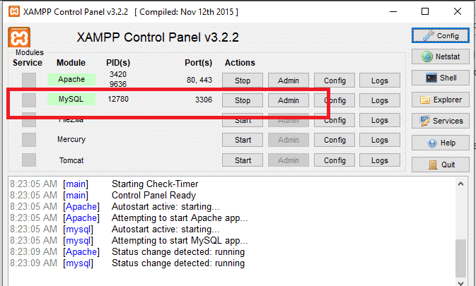 Xampp MySQL Create table