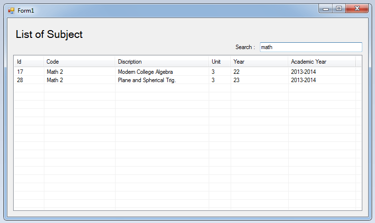 How to Search Data in the ListView Using C# and SQL Server