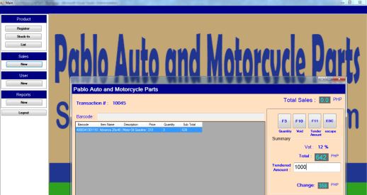 PSpABLOmOTOROUTPUT sales and Inventory System