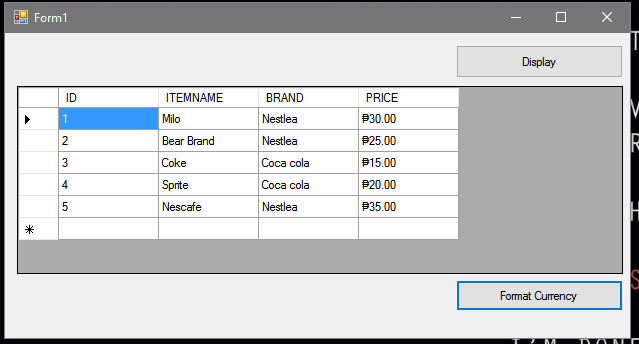 How to Format the DataGridview Column to Currency using VB Net