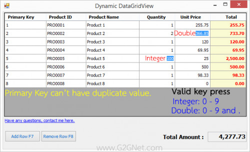 Add/Remove Rows and validating each cells in DataGridView