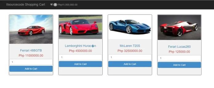 Ajax Shopping Cart PHP PDO