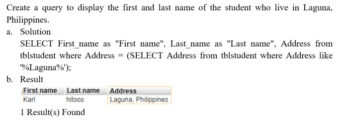 Select Statements using Sub query