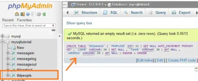 mysql tutorial create table gui