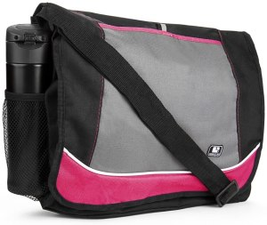 a simple looking yet elegant and functional messenger bag with black, grey and pink color outlook.