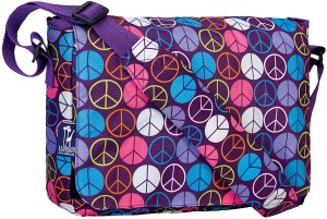a multi colored wildkin messenger bag with a cute print for school girls.