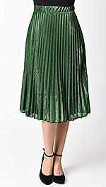 retro_style_green_stretch_metallic_pleated_midi_skirt