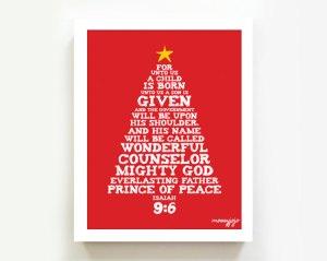 Isaiah 9:6 christmas tree print