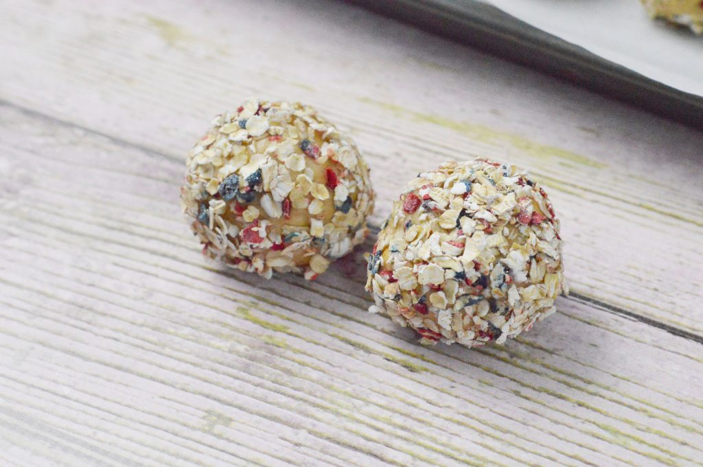 Red White and Blue Peanut Butter Oat Balls
