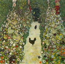 Garden Path with Chickens, 1916, Oil on canvas, 110 x 110 cm, Destroyed by fire at Immendorf Palace, 1945