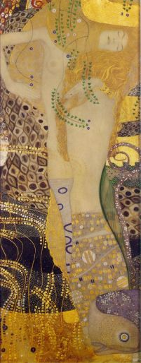 Serpents I, 1904-07, Watercolors and gold paint on parchment50 x 20 cmAustrian Gallery, Vienna