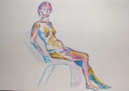 watercolour on chair
