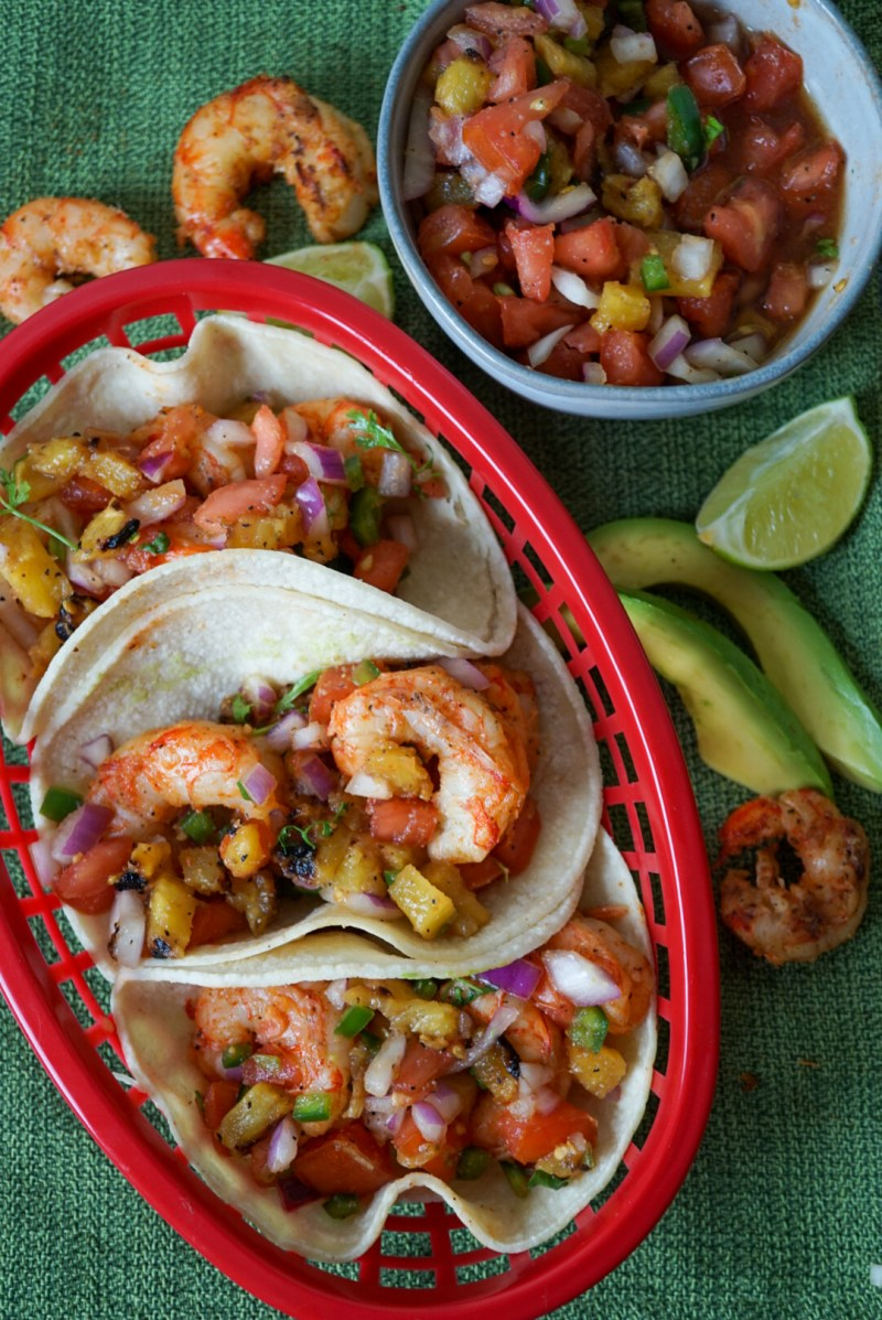 Shrimp Tacos with Homemade Pineapple Salsa