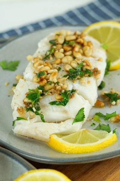 Lemon Garlic Fish and Toasted Pine Nuts