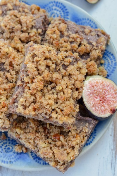 topped with a buttery pecan topping for a healthier dessert!