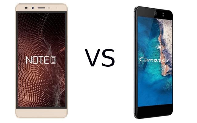 infinix note vs camon cx comparison