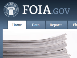 A screen capture from the FOIA.gov website.