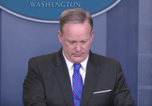"Sean Spicer Handed Mid-Briefing Note Saying, ""You Just Committed A Felony"""