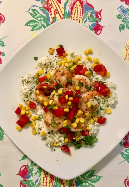 Sauteed Shrimp, Peppers and Corn over Creamy Rice