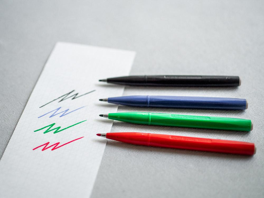 Pentel_sign pen_black-red-blue-green-2
