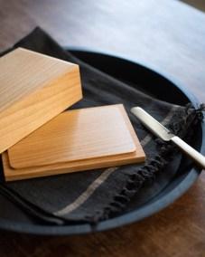 azmaya-cherry wood butter case-200g full-butter knife