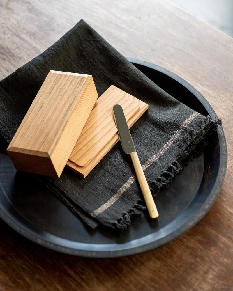 azmaya-cherry wood butter case-200g half-butter knife