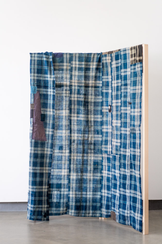 Vintage Boro Fabric_Indigo Large Check