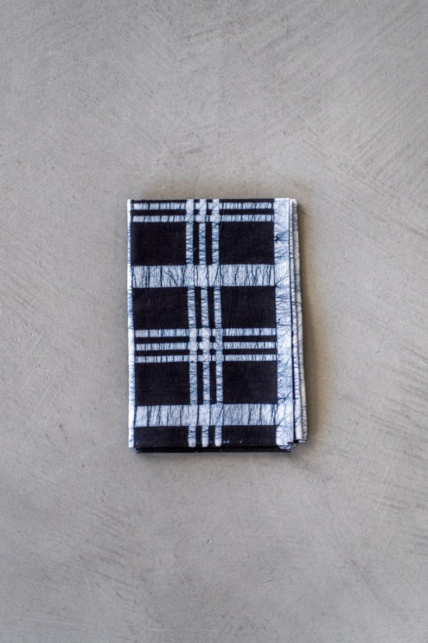 Tenugui - Benkei Check Batik Indigo_top