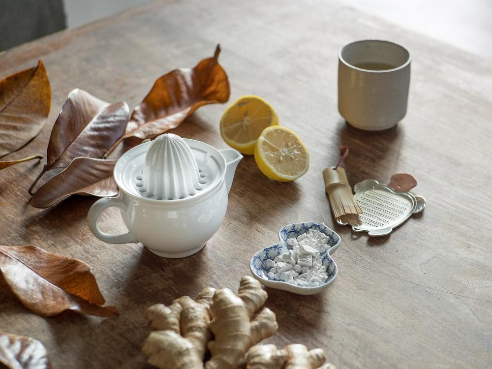 Azmaya_Ceramic Citrus Juicer_Bean Dish_Iga Teacup_mood styling