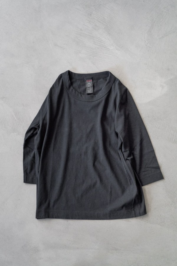 Homspun_3/4 Sleeve T-shirt_black_top