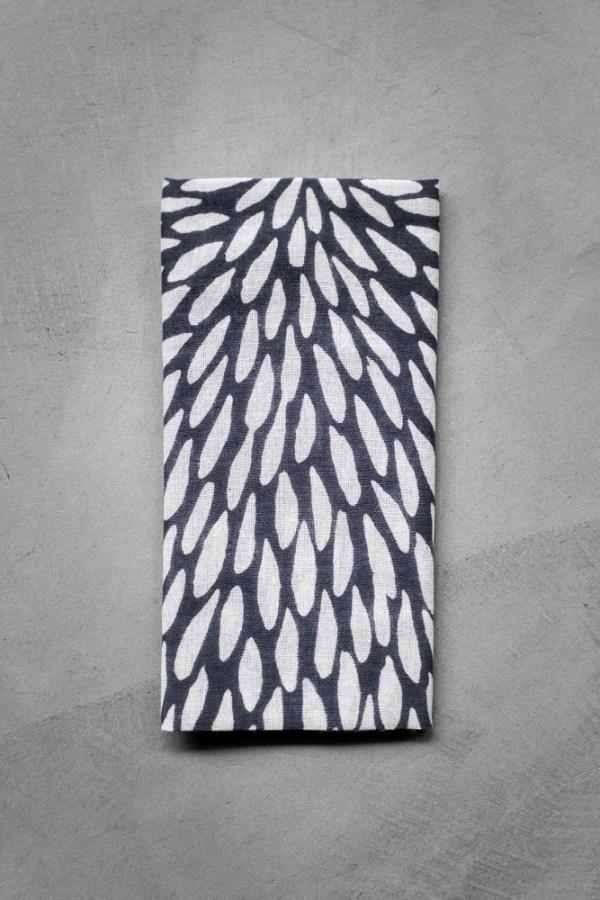 Kamawanu_Tenugui_Cotton Linen Mix_Chrysanthemum_grey_top
