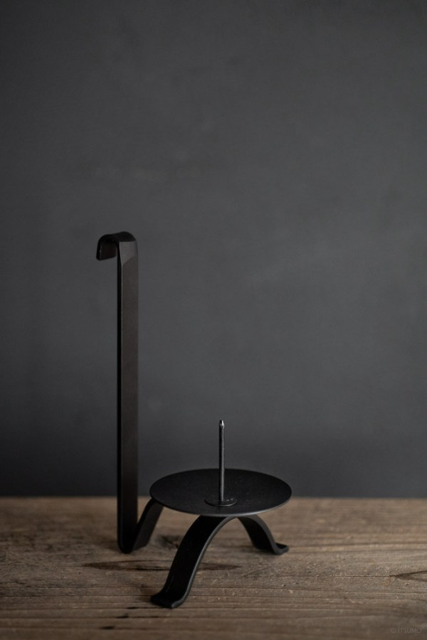 Black Candle Holder with Tall Handle_top