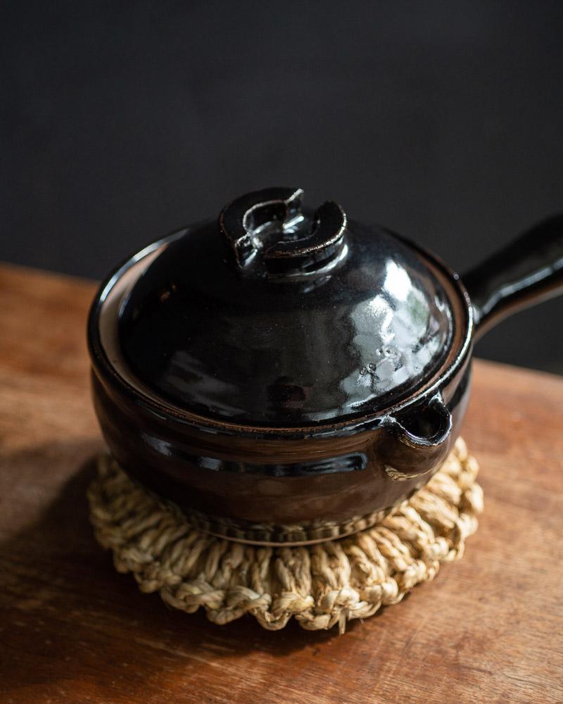azmaya-iga yukihira pot-igaware ceramic donabe-kuroame black-1
