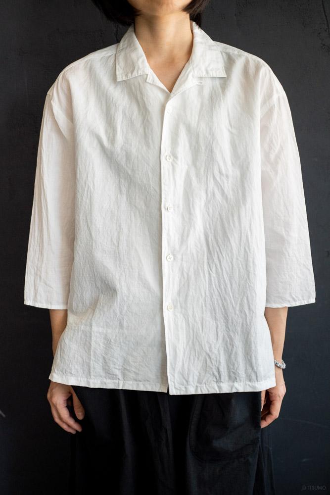 homspun-women's cotton linen open collar shirt with 3-4 sleeve-white-2