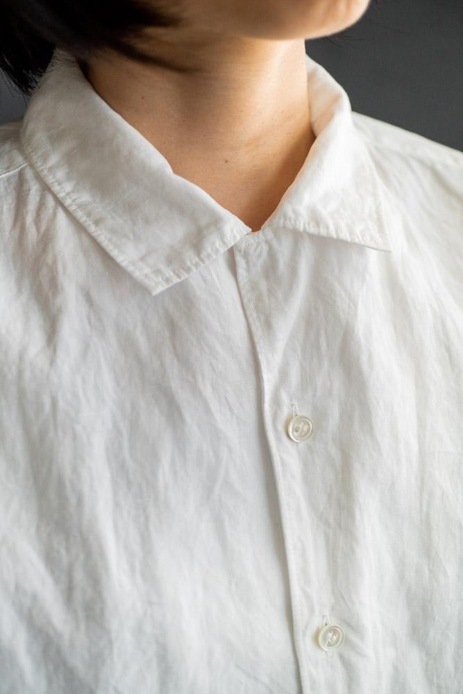 homspun-women's cotton linen open collar shirt with 3-4 sleeve-white-8